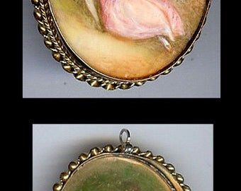 Vintage gold fill hand painted young lovers PIN BROOCH or PENDANT