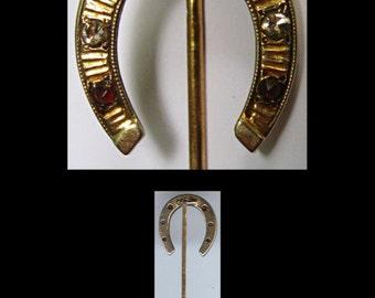 Antique Victorian 14K GOLD DIAMOND RUBY horseshoe stick pin brooch