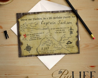 Arrrrgh It be a Pirate Treasure Map  Birthday Invitation Printable DIY No. I145