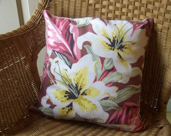 Another Mid Century 16x16 Vintage Barkcloth Decorative Pillow Cover Floral