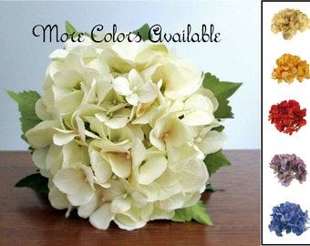 """Choice of Silk Hydrangea Bouquet, Ivory, Champagne, Amber Orange, Red Orange, Lavender, or Blue, Bridal or Bridesmaid Bouquet, """"Grace"""""""