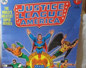 Large Vintage Comic Book Justice League of America Wonderwoman Superman Limited Edition 1976