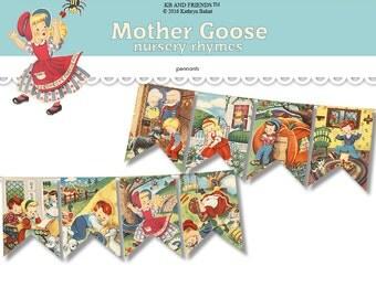Nursery rhymes bunting  / Mother Goose printable pennants / printable bunting flags / printable banner / vintage storybook / party bunting