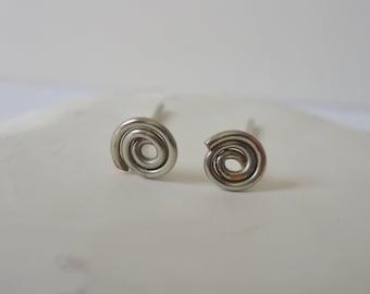 Wire Swirl Earrings - handformed silver wire earrings