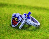 Pixel Hyrule Shield Master Sword Zelda Acrylic Plastic  Ring for couple and gamer 8 bits design