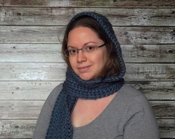Blue Hooded Scarf - Warm and Soft Hooded Scarf