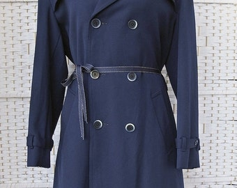 4-DAY SALE Vintage 60s Mod MCLAREN Scotland Navy Blue Gab Double Breasted Belted Trench Coat M/L