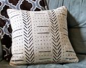 2 White Bogolan Mudcloth Pillows (18x18), 2 inserts (20x20)