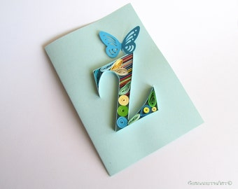 Z Initial Letter Card, Personalized Greeting Card, Z Letter Quilling Card, Z monogram card, Alphabet card, Birthday card