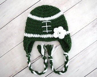 Infant Girls Green and White Crochet Football Hat - Great Gift or Photo - Green and White Newborn Hat