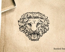 Classic Stone Lion Head Rubber Stamp - 2 x 2 inches