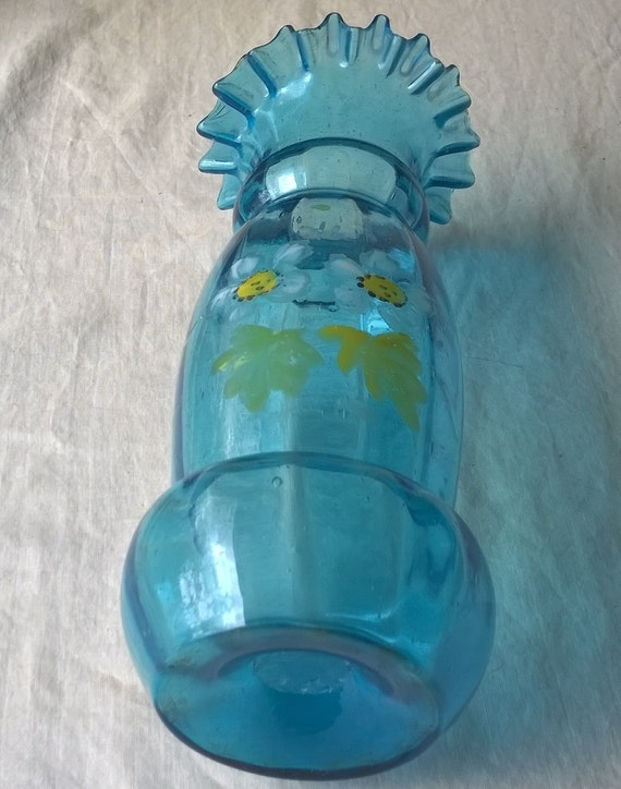 Antique Hand Painted Art Glass Vase. Turquoise w Yellow Daisies. Aqua Glass Vase. Victorian Edwardian Era Art Glass