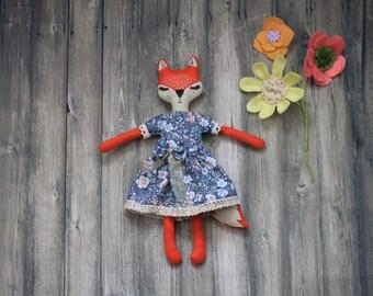 Fox Plush handmade doll felt fox Cloth doll Art doll heirloom rag doll woodland doll stuffed fox woodland softie collectable doll OOAK dolls