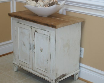 Antique White Rustic Cabinet, TV Cabinet, Console, End Table, Nightstand, Storage, Liquor Cabinet, Reclaimed Plank Top, Entryway Cabinet