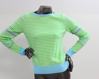 90s Colorful Green and Blue Fruity Izod Striped Sweater