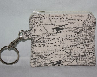 Small Change Purse with Detachable Key Ring in Popular Travel Fabrics