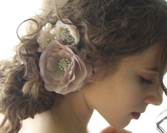 blush Hair comb Bridal flower hair comb boho cream flower comb flower girl hair comb festival flower comb woodland hair comb floral FLAVIA