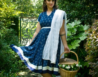 Kalindi Adult Anarkali natural waist jaipur hand embroidered cotton raw cotton collar