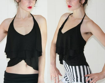 Jabot Crop Top - Flowy Drapey Ruffle Halter Top - Urban Vamp - Romantic Summer Goth
