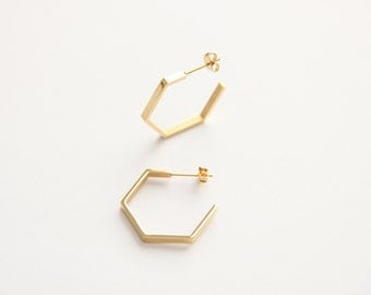 Hexagon Hoop Earrings - 3044