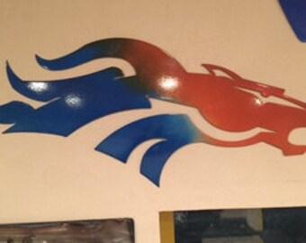 Denver Broncos logo steel bronco horse head wall art