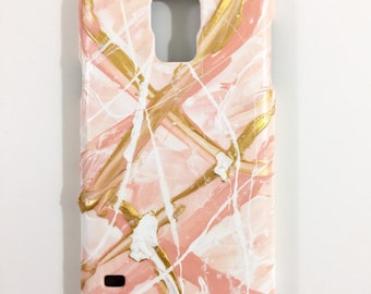 Samsung Galaxy S 5 Case - Hand Painted - Abstract Cellphone accessories - hard plastic - Pale Pink White Gold