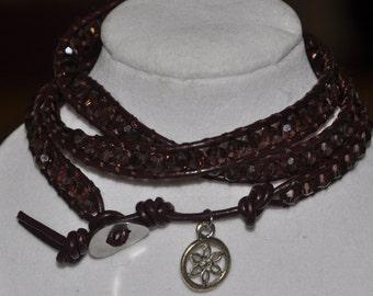 SALE! Triple Wrap Bracelet Plum Crystal #511