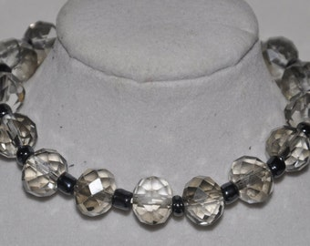 Stretch Bracelet Clear Crystal Grey #546