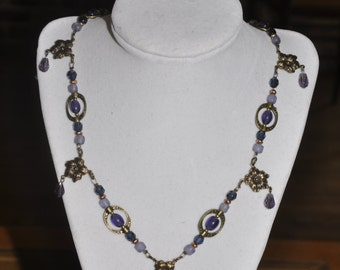 Necklace Flower Crystal Brass Purple Pink #57