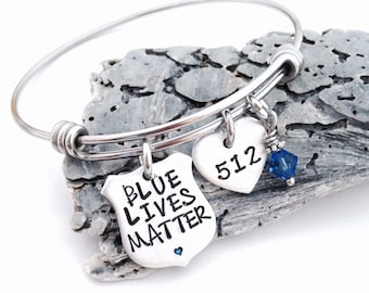 Blue lives matter- police wife bracelet- bangle bracelet-police lives matter-police gift-thin blue line jewelry-police mom-police girlfriend
