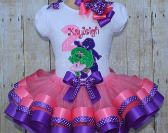 Barney & Baby Bop Birthday Ribbon trimmed tutu set! Perfect for a Barney themed Birthday party or for pictures!