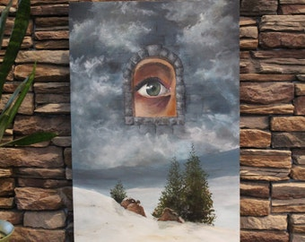 Eye in the Sky - Original Surreal Landscape, Acrylic Painting