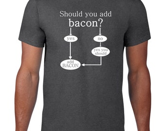 Should You Add Bacon T Shirt, Funny T Shirt, Bacon Tshirt, Funny Tshirt, Flow Chart Bacon Tee, Ringspun Cotton, Mens Plus Size