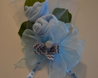 Baby Socks Corsage, Mother-To-Be Pin On or Wrist Corsage, Grandmother Corsage, Baby Boy Shower Corsage, Unique Baby Shower Corsage Boy