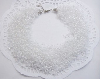 Bridesmaids gifts/for/her white gifts white necklace white bead necklace bridal white wedding necklace statement necklace bridal jewelry