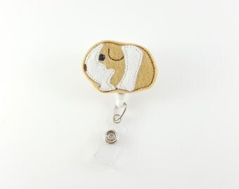 Tan & White Hamster - Felt Badge Reel - Retractable ID Badge - Cute Badge Reels - Veterinarian Badge Holder - Badge Clip - Nurse Badge Reel