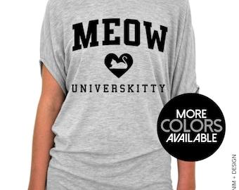 Meow Universkitty, Cat Shirt, Women's Clothing, College University Top, Womens Slouchy Tee Shirt, Off the Shoulder, Tunic Slouchy T-Shirt