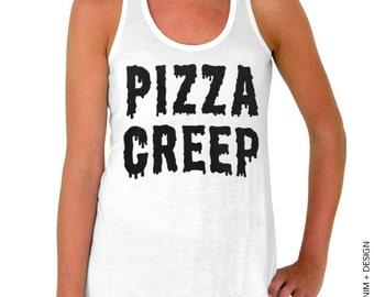 Pizza Creep - White Flowy Tank Top