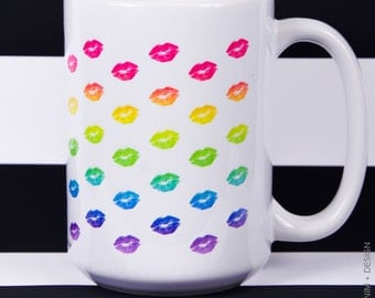 Rainbow Lips Mug - 15 oz. Coffee and Tea Mug - Printed on Both Sides - Home Decor - Gift Idea
