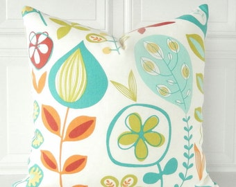 Floral Pillow Cover Orange Teal Pillow Floral Throw Pillow Green Orange Toss Pillow Flower Pillow Wildflower Pillow Decorative Pillow