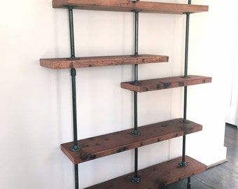 "The ""Addison"" Bookshelf - Reclaimed Wood Shelving Unit - Reclaimed Wood & Pipe Shelf"