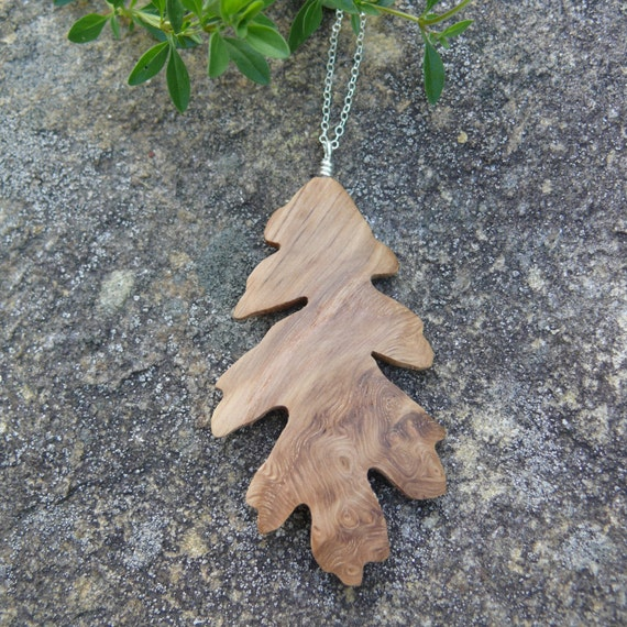 Oak Leaf Necklace, Silver Leaf necklace, Natural wood jewelry, Earthy Boho wooden jewelry, Leaf Jewelry, Nature lover gift