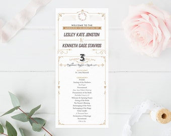 Rustic Programs - Kentucky Derby Ceremony Programs with Horses - Printable Wedding Programs - -Double-sided Programs - Felicity
