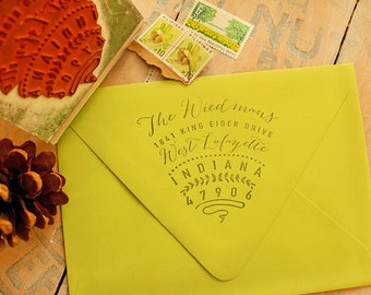 Oversized Envelope Flap Stamp - Return Address Stamp - Rubber Stamp - Rustic Stamp for Wedding Invitations - Triangle-shaped Stamp