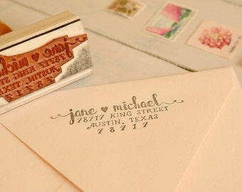 Romantic Return Address Stamp - Wedding Invitation Stamp - Couple's Name Stamp - Love Heart Stamp - Jane