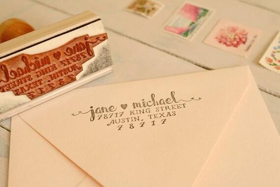 romantic return address stamp wedding invitation stamp couples name stamp love heart stamp jane from paperpeachshop on etsy studio - Wedding Invitation Stamp