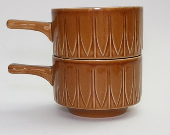 1970s Caramel Brown Soup Bowls With Handle