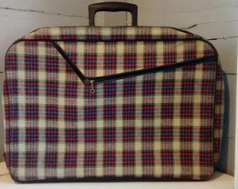 Vintage Weekend Bag Overnight Bag Laptop Bag Luggage Plaid