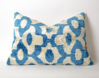 Blue ikat cushion cover - boho ikat pillow - blue velvet ikat cushion - blue white pillow - blue velvet pillow - accent pillows