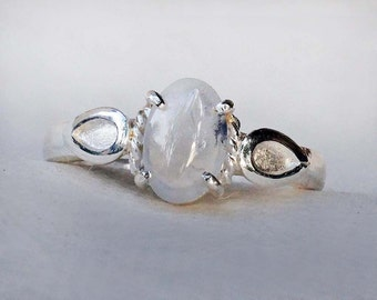 Light Blue Sapphire Ring, Sapphire Engagement Ring, Sterling Silver Ring, Boho Engagement Ring